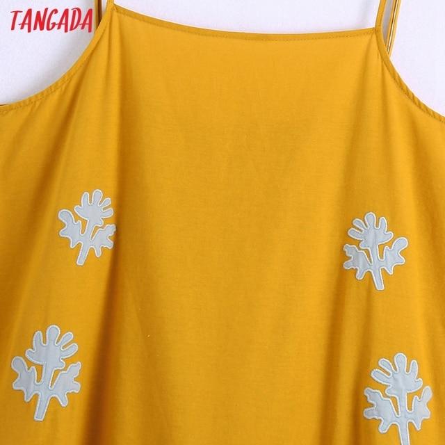 Tangada Women's Summer Embroidery Romantic Cotton Dress Strap Adjust Sleeveless 2021 Korean Fashion Lady Elegant Dresses CE313 2
