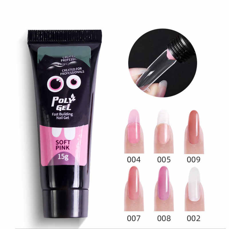 15G Polygel Poly Gel Polish Nagel Enhancement Poligel Natuurlijke Clear Poly Gel Vinger Uitbreiding Crystal Poly Gel Nail Gel uv Led