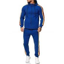 PUIMENTIUA New Men Sets Hoodies+Sweatpants Sporting Mens Gradient Zipper Print Sweatshirt Top Pants Sets Sport Suit Tracksuit