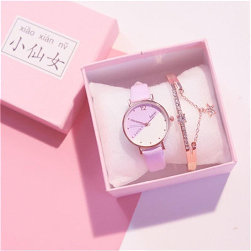 Lovely Macaron Star Bracelet Ins Minority Design Student Simple and Cheap Girls Bracelet Jewelry watch set