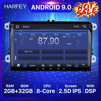 Harfey Car Multimedia Player 2 din 4-core GPS Navi Android 9.0 autoradio For Skoda/Seat/Volkswagen/VW/Passat b7/POLO/GOLF 5 6 image