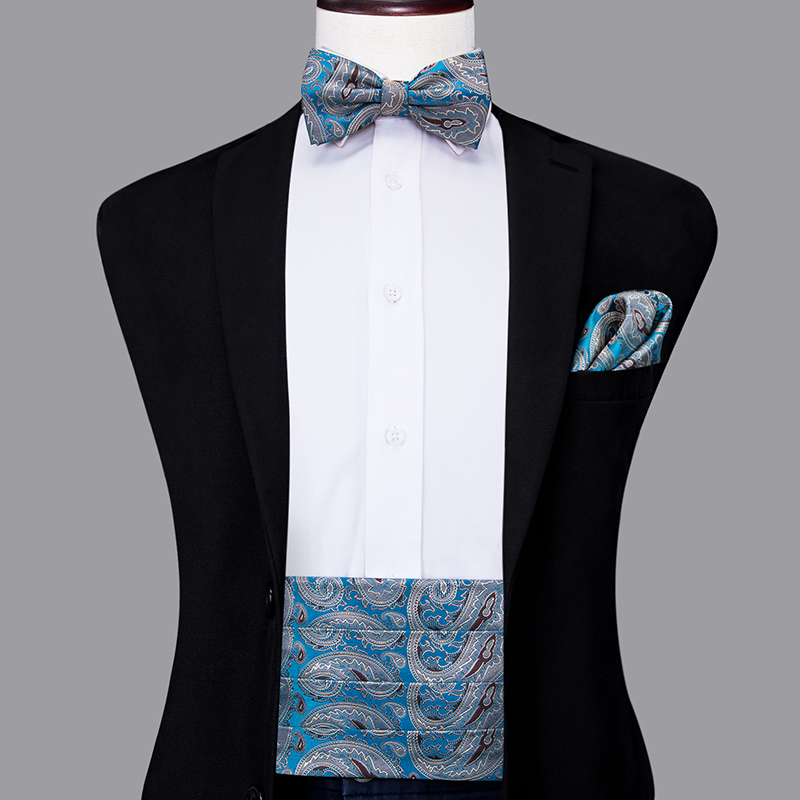 YF-2019 Hi-Tie Luxury Paisley Cummerbund For Men Wedding Party Blue Fashion Silk Cummerbund Bow Tie Hanky Cufflinks Set
