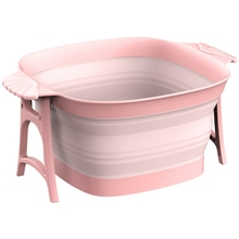 Bucket Massage-Roller Footbath Plastic Foldable Household Pink with 1PC