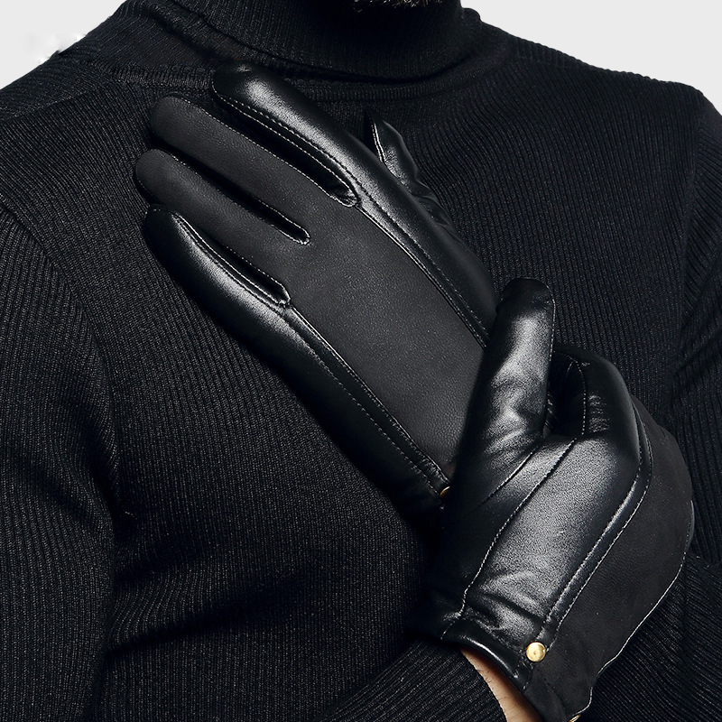 Image 4 - Genuien Leather Male Gloves Autumn Winter Thicken Warm Driving Sheepskin Gloves Man Black Casual Leather Gloves TU2801-in Men's Gloves from Apparel Accessories