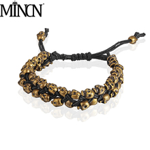 MINCN Skull bracelet men Hiphop/Rock mens bracelets 2018 gifts for adjustable skull