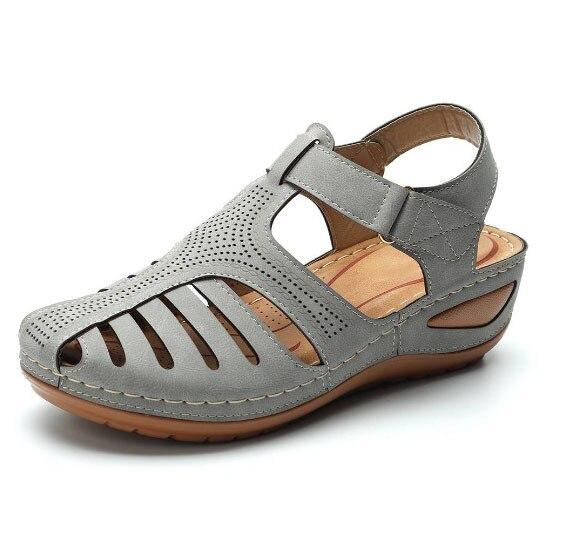 MCCKLE Woman Summer Leather Vintage Sandals Buckle Casual Sewing Women Shoes Female Ladies Platform Retro Sandalias Plus 35-44 5