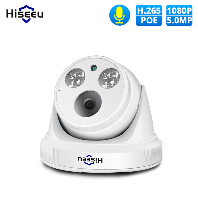 Hiseu H.265 IP Camera 5MP 1080P POE IP Camera CCTV ONVIF Dome Security Camera P2P 2MP View APP Windows for NVR Wired CCTV System