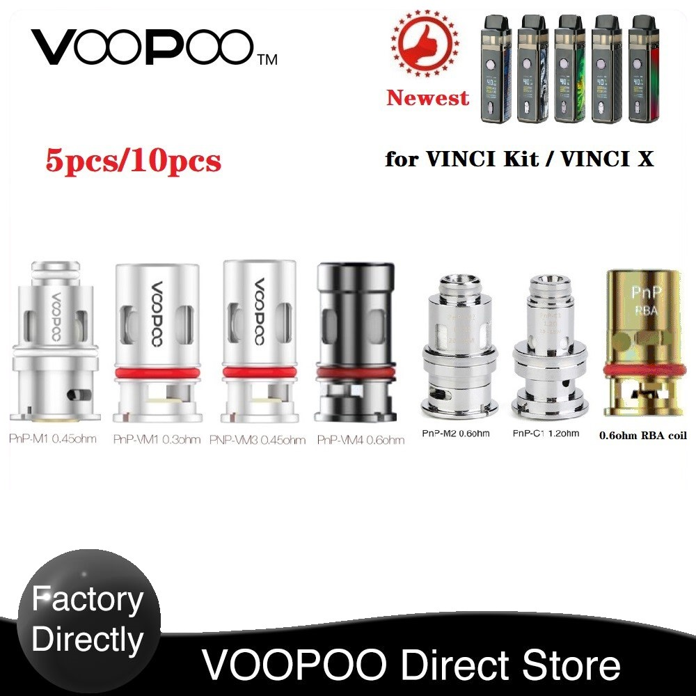 5-50pcs!!!Original  VOOPOO PnP Coil With PnP-M2 0.6ohm & PnP-R1 0.8ohm & PnP-C1 1.2ohm E-cig Vape Coil For Drag Baby Trio Kit