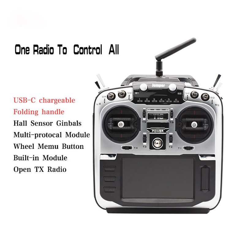 Jumper T16 Pro Radio Transmitter Hall Gimbal 2.4G 16CH Open Source Multi-Protocol RC Transmitter JP4-in-1 RF Module 2.4G 16CH 4.3 LCD Transmitter with R1F Receiver Mode 2 Left Hand Throttle