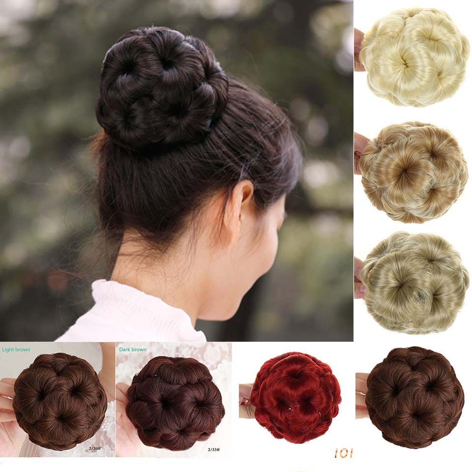 MUMUPI  Fashion Plastic Comb Synthetic Hair Bun Chignon Hairpiece Accessories Easy Clip In Hair Ponytail Extensions Wave Curly