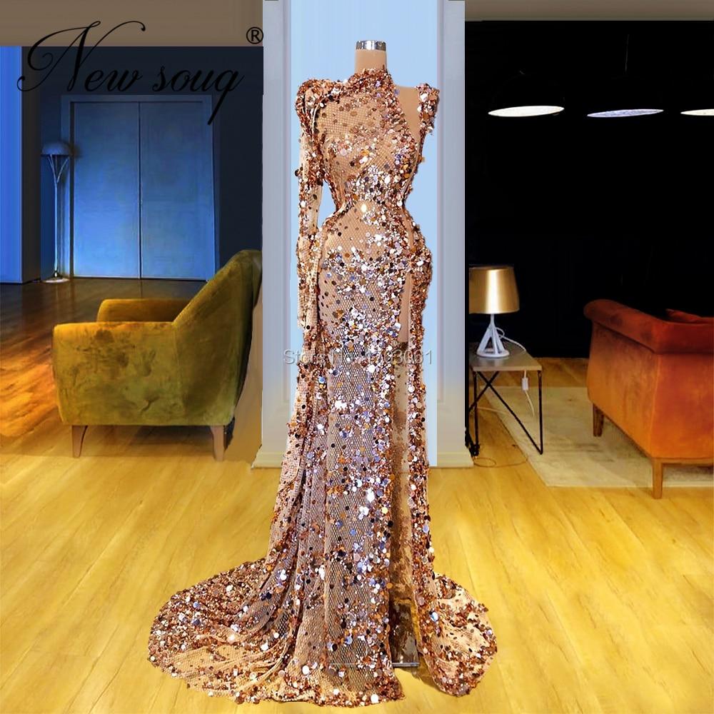 Image 2 - Robe Dubai Sequins Prom Dresses 2020 Turkish Single Sleeve Beaded Evening Gowns Saudi Arabic Formal Party Night Dress CustomEvening Dresses   -
