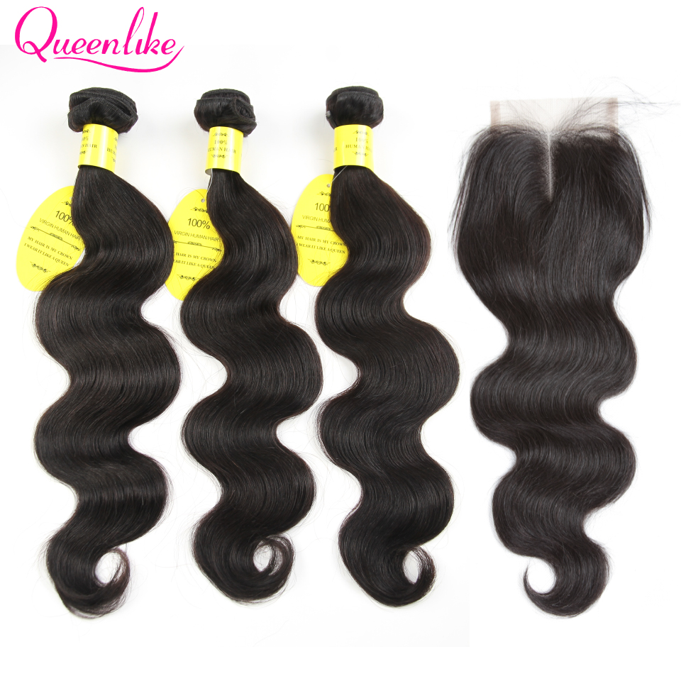 H2e02246576d540a59259df0175c86ff6I QueenLike Hair Products Brazilian Body Wave With Closure Non Remy Hair Weft Weaving 3 4 Bundles Human Hair Bundles With Closure