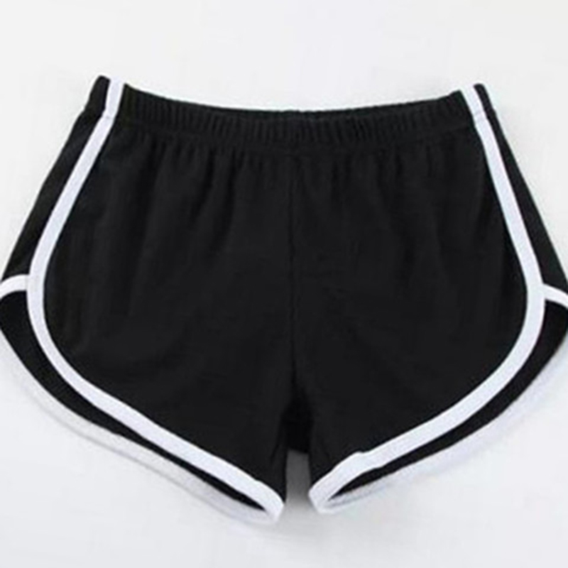 Women Black Grey Sport Shorts Summer Casual Shorts Hot Women Blend Elastic Waist Patchwork Beach Party Shorts