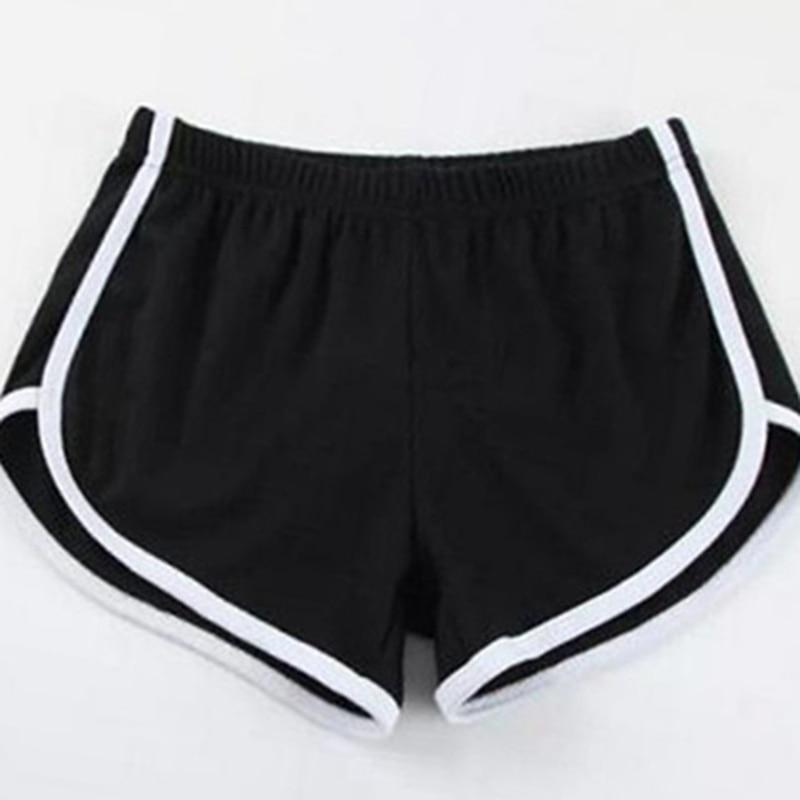 Women Black Grey Sport Shorts Summer Casual Shorts Hot Women Blend Elastic Waist Patchwork Beach Party Shorts