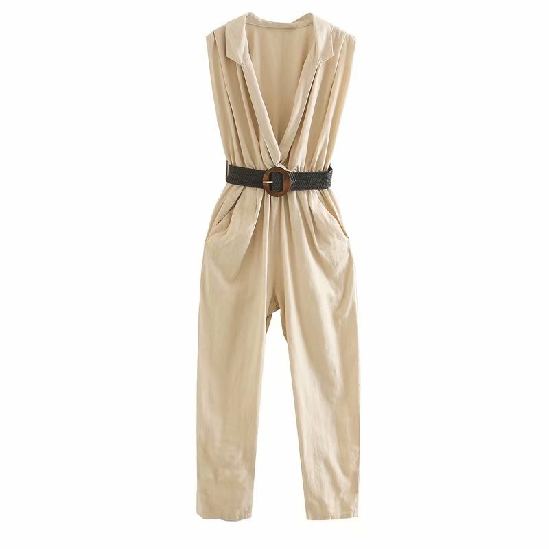 New 2020 Women Fashion Solid Color Pockets Siamese Rompers Vacation Style Ladies Sleevelss Sashes Jumpsuits Casual Trousers P811