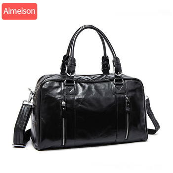 Men genuine leather travel duffel  Real bag Big vintage crazy horse zip around Weekend messenger