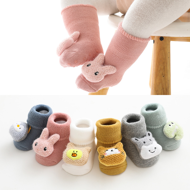 Autumn Winter Thick Soft Cotton Baby Girls Socks Newborn Cartoon Animal Baby Socks Infant Baby Boy Socks Warm Floor Sock