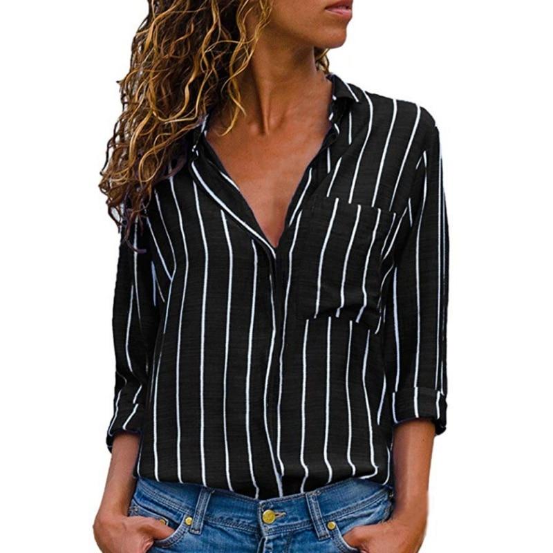 2020 Women Blouses  Fashion Striped Blouse Shirt Long Sleeve Blouse Fashion V-neck Shirts Casual  Blouses