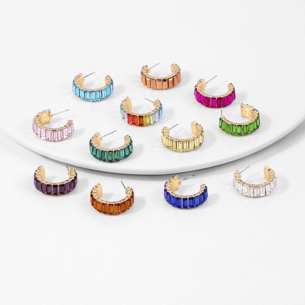 Gorgeous Rainbow hoop earrings for Women Colorful Rectangle Cubic Zirconia Earrings