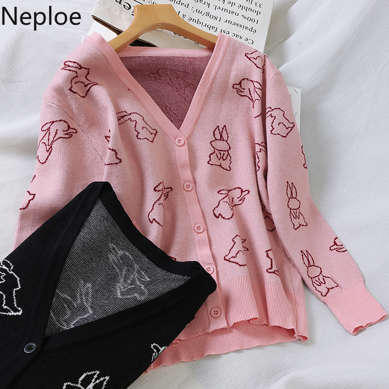 Neploe Jersey Cardigans-Sweater Pull V-Neck Kawaii Print-Button Knit Sweet-Style Korean