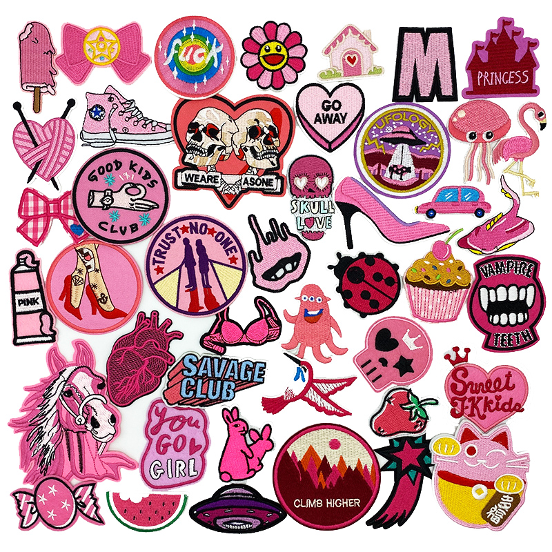 Pink series cartoon embroidery patch Cute girl fruit cream horse DIY Iron on patches Clothes Badge Applique Decoration Apparel|Patches|   - AliExpress