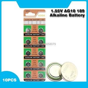 10 шт./упак. AG10 LR54 ячейки щелочной Батарея для мобильного часо-игрушки с дистанционным 1,55 V SR54 389 189 LR1130 SR1130 аккумуляторы таблеточного типа