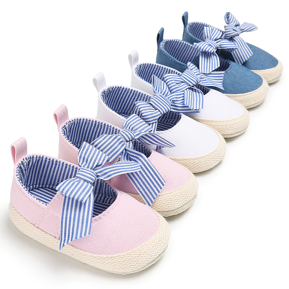 Baby Girl Shoes Newborn Toddler Soft Anti-slip Sole Stripe Bowknot Canvas Solid Infant Prewalkers Princess Baby Crib Moccasins