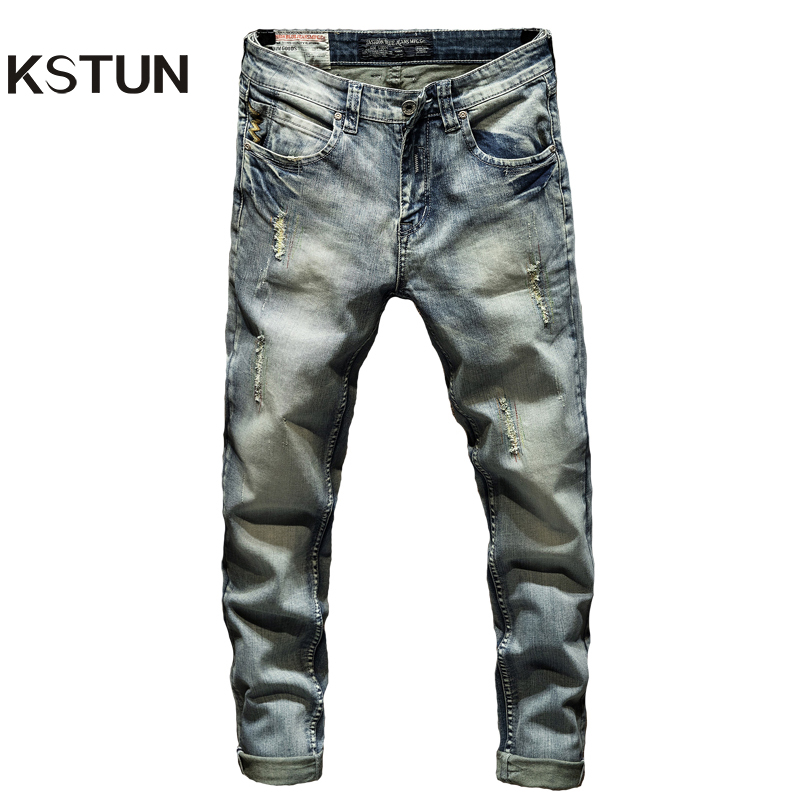 Ripped Skinny Jeans Men Light Blue Stretch Embroidered Pockets Distressed Mens Jeans With Holes Slim Fit Casual Denim Pants Boys