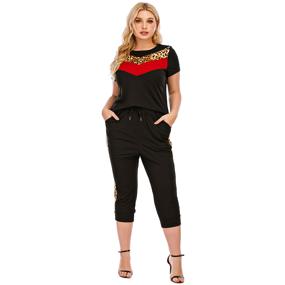 2021 Plus Size Tracksuit Women's Summer Large Size Micro Fat Loose Round Neck Striped Fashion Casual Tracksuit Sportwear D30