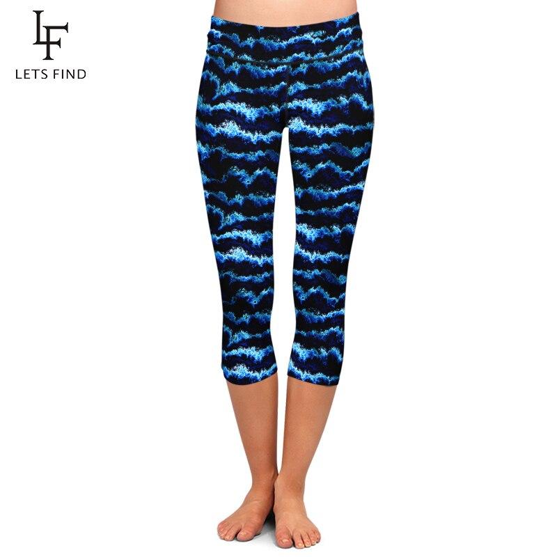LETSFIND 2020 New Arrival Waves Printing Women Leggings High Waist Plus Size Fitness Soft Slim Elastic Capri Leggings For Summer