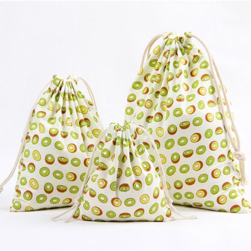 3 Size Fruit Design Printed Drawstring Bag Pocket Storage Pouch Kiwi Pattern Backpack Women Cotton Fabric Bags