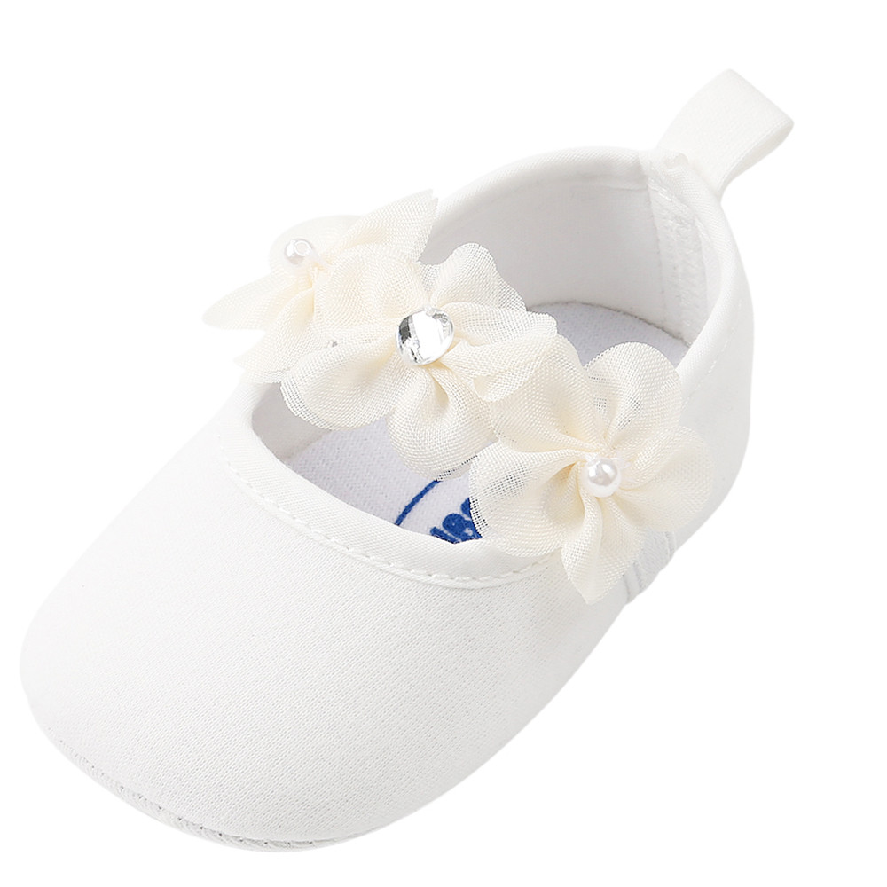All Seasons 100% Brand New Baby Girl Pearl Cotton Fabric Fashion Cotton Toddler First Walkers Solid Kid Shoes