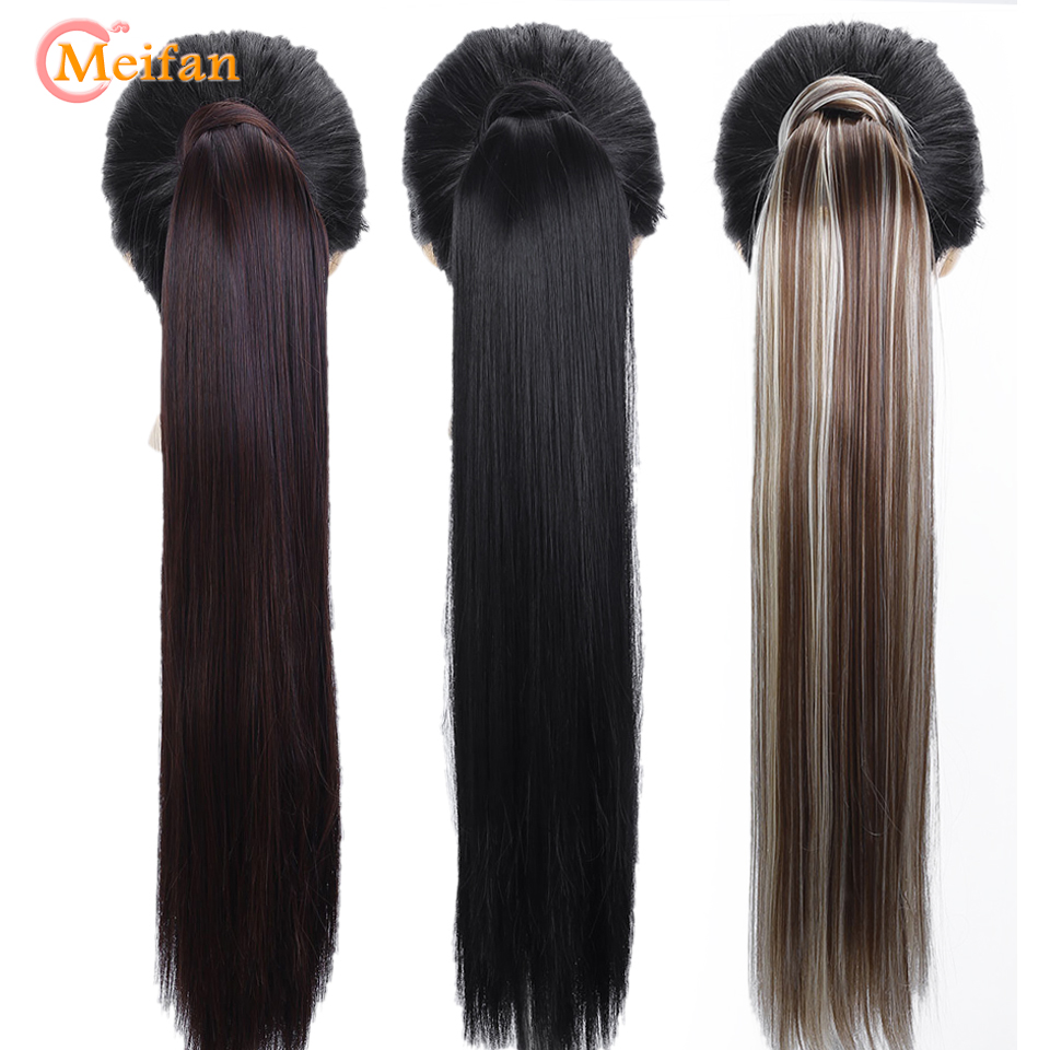 MEIFAN Long Straight/Curly Clip In Hair Tail Extension False Ponytail Nature Hairpiece With Hairpins Synthetic Fake Ponytail