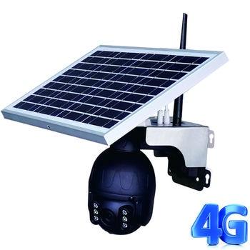 Solar Power Outdoor PTZ 1080P Camera AI auto tracking camera with 25W Panel