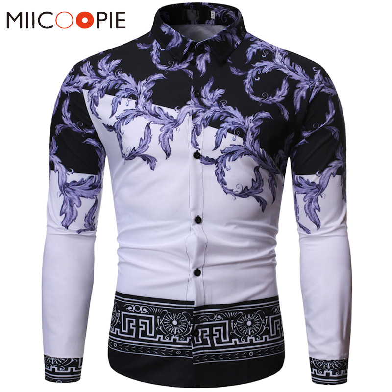Luxury Baroque Long Sleeve Mens Shirts 2019 Autumn Floral Printed Slim Fit Harajuku Hipster Chemise Homme Men Party Dress Shirt