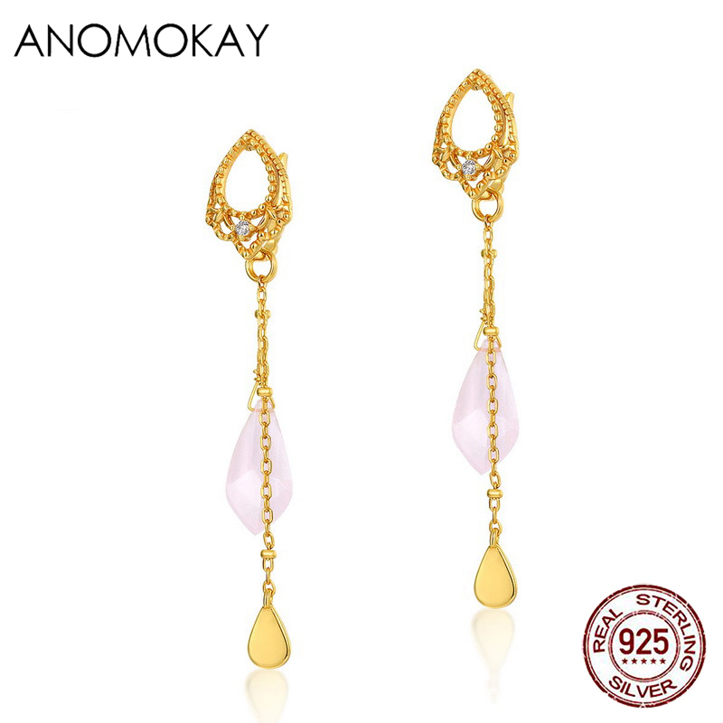 Anomokay Simple Casual Long <font><b>Tasel</b></font> Crystal Gold Color Drop <font><b>Earrings</b></font> for Women Party Engagement Gift Real 925 Silver Link <font><b>Earring</b></font> image