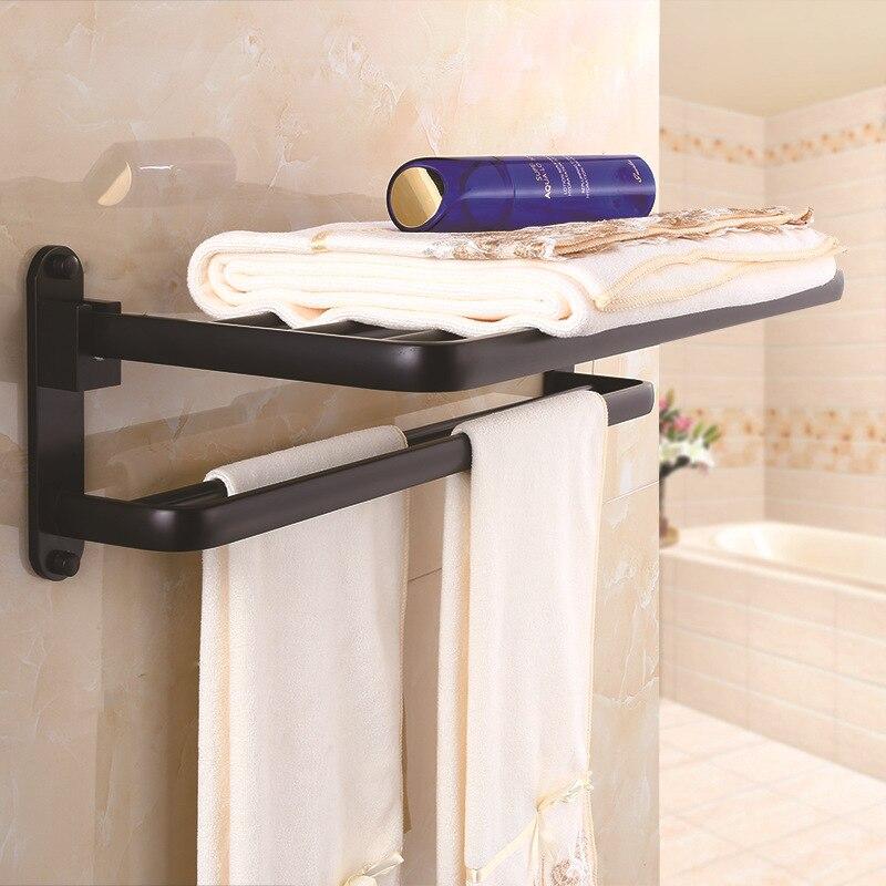 Black And White With Pattern Towel Rack Alumimum Storage Shelf European Style Towel Rack Storage Shelf Hotel Hardware Bathroom P
