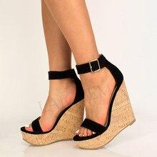 LAIGZEM damskie sandały buty na koturnie korkowe obcasy sztuczny zamsz buty kobieta Frauen Sandalen buty Sandalia Zapato rozmiar 44 46 50 52