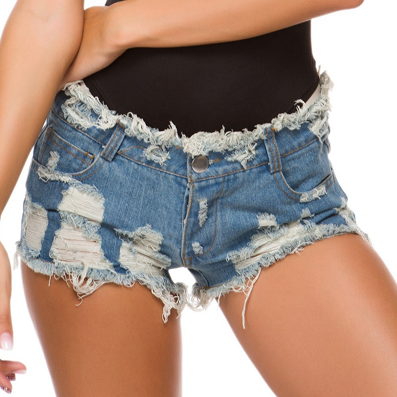 Summer Women Sexy Denim Shorts 2020 High Waist Sexy Ripped Holes Nightclub Hot Short Jeans Femme Beach Tassel Bandage Hotpants