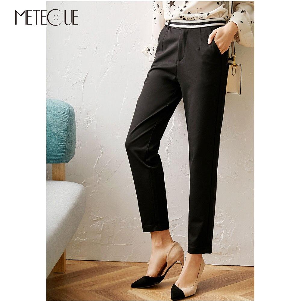 Office Lady High Waisted Women Pencil Pants 2020 Spring Summer Fashion Color Patchwork Women Trousers Black Color Women Capris