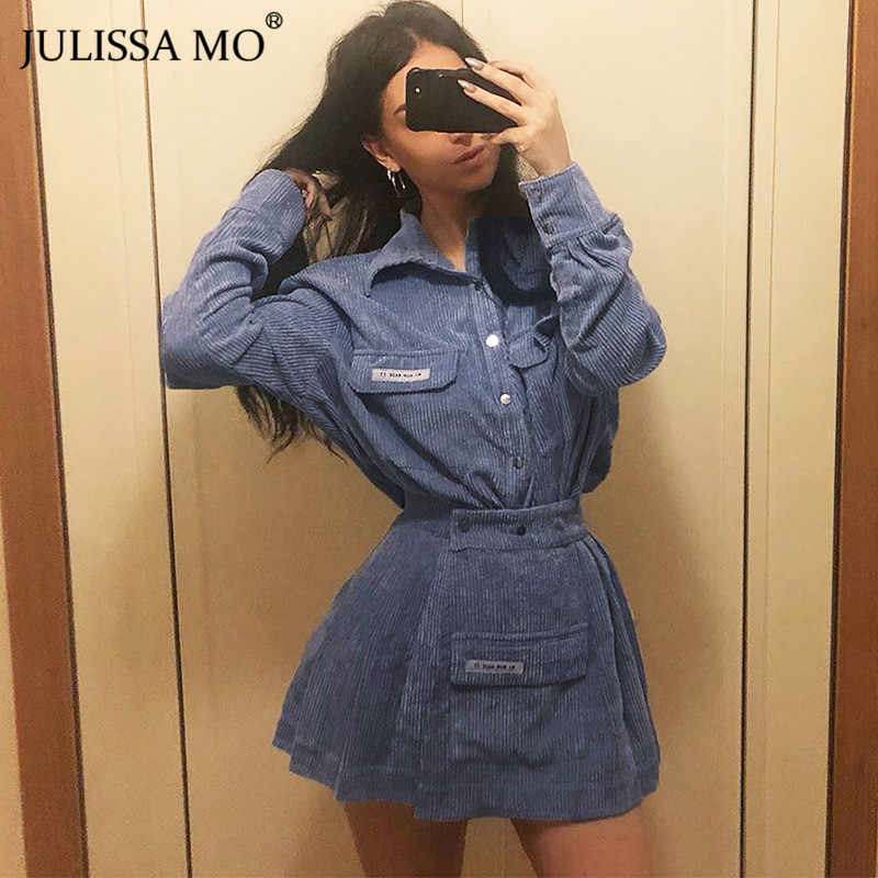 JULISSA MO Fashion Corduroy Matching Sets 2019 Autumn Winter Long Sleeve T-Shirt and Pleated Skirt Set Women Two Piece Outfits