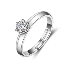 PISSENLIT Simple Adjustable Silver Ring Set Zircon Women Jewelry White Rhinestone Wedding Rings For Accessories Gifts