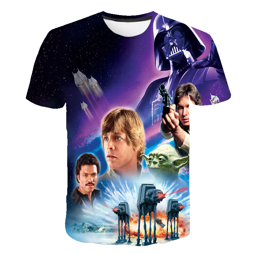 Summer kids T-shirt for the Star Wars cartoon costume movie Harajuku children funny T-shirt hot sale boys and girls tops