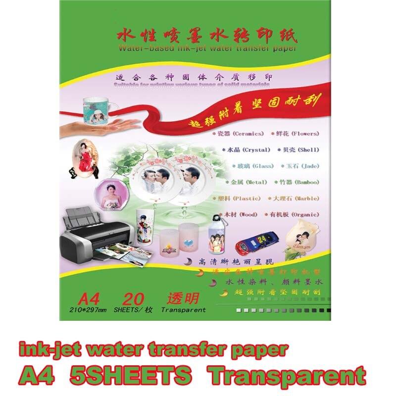 A4size Inkjet  Coating Oil/spray Laser Clear/transparent Water Slide Waterslide Decal Paper Color Laser Water Transfer Paper