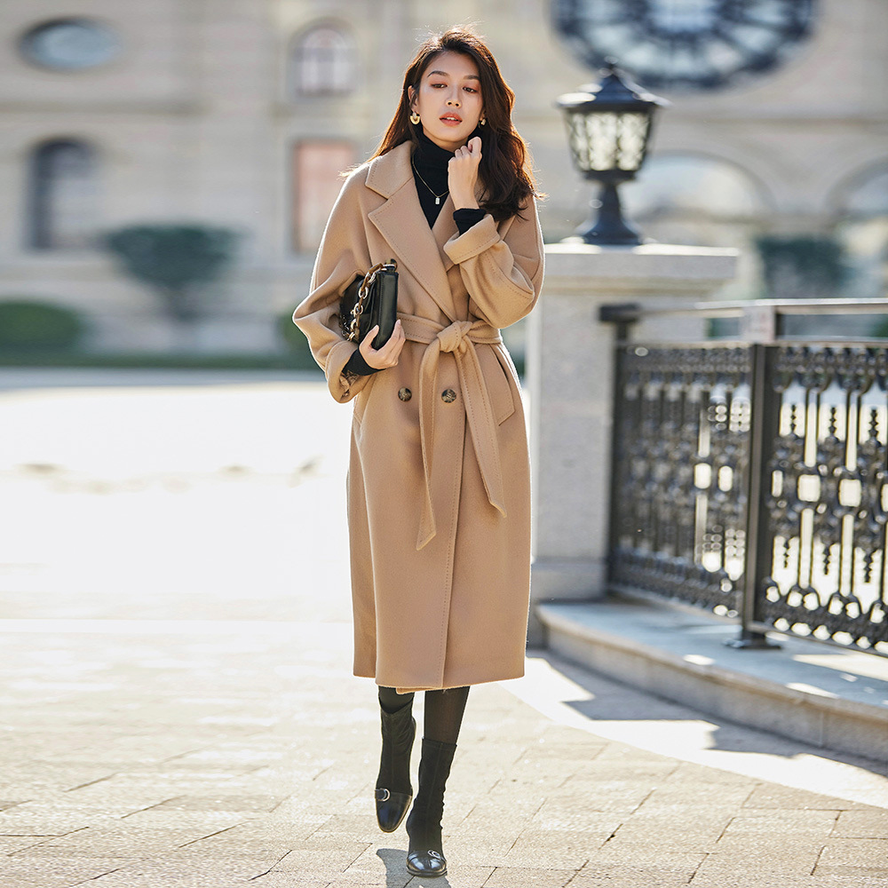 Luxo max duplo breasted casaco de lã vermelho casaco feminino longo camelo casaco plus size preto lambswool casacos senhoras inverno tweed casaco ins