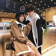 все цены на Winter Lamb Fur Coat Men Warm Fashion Parka Men Casual Thickening Coat Man Streetwear Loose Couple Long Jacket Male Clothes