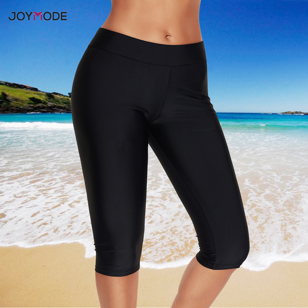 JOYMODE Women Swimwear Bottoms Black Swim Pants Capris Cropped Pants Fitness Swim Trunks Surf Sport Shorts Slim Leggings Tights