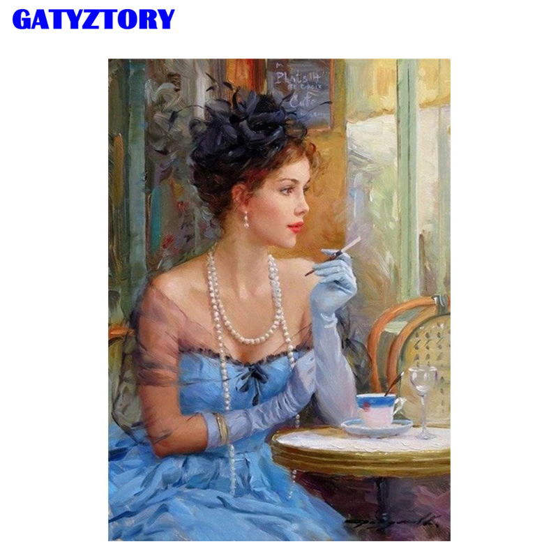 GATYZTORY Frame Figure Painting Woman DIY Digital Painting By Numbers Kits Hand Painted Modern Wall Art For Artwork