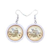 Retro Wood Wooden Time Gem Punk Unique Cool Drop Earrings Jewelry Female Bicycle Sailing Carriage Style Antique Mother Lady Young Lass Girl Christmas Gift AL019-024(China)