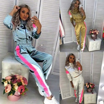 Sweat Suits Women Tracksuit 2 Piece Set Hip Hop Reflective Crop Top Pants Female Loose Zipper Windbreaker Jacket Matching Sets 2019 spring hip hop clothes fashion letter printing tops light green pants suits female casual loose 2 piece sets